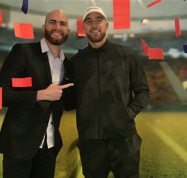 DJ Slim Rok and Travis Kelce from the KC Chiefs
