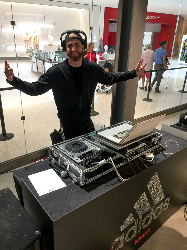 DJ Slim Rok at the grand opening of the Adidas Store at Aventura Mall!