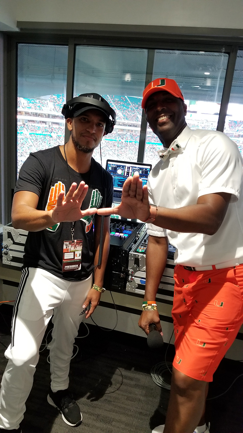DJ Volume and MC Dale Mclean at the Miami Hurricanes Game