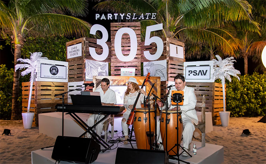 DJ Slim Rok and our Cuban Trio at the Party Slate Miami Launch